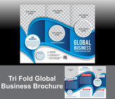Tri Fold Blue Wave Brochure — Vetor de Stock
