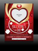 Vector Valentine Day Flyer Design — Stock Vector