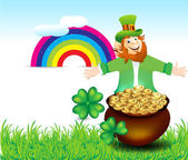 St Patrick's Background With leprechaun — Stockvektor