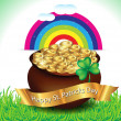 St patrick coin with golden bowl — Vector de stock