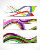 Abstract Colorful Wave Banner Set — Stock Vector