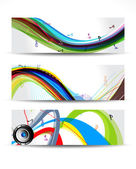 Colorful Musical Wave Banner — Stock Vector