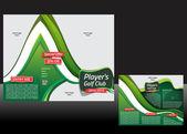 Tri fold design de brochura de golfe — Vetor de Stock