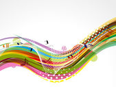 Ola musical colorido abstracto — Vector de stock