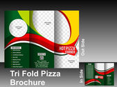 Tri fold pizza brochure template — Stock Vector