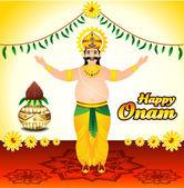 Happy onam background with King mahabali — Stock Vector