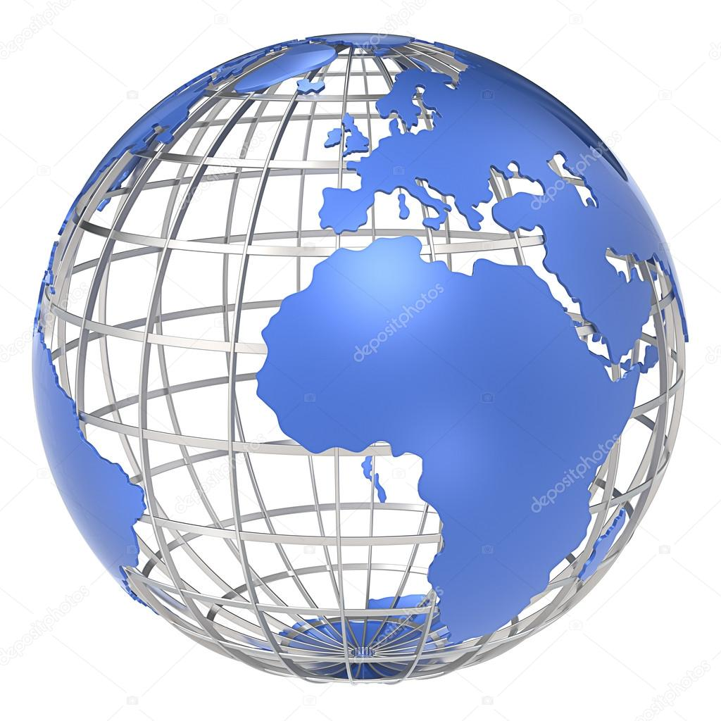 The Earth, frame structure of steel. Blue continents. Isolated.  — Stock Photo #14393605
