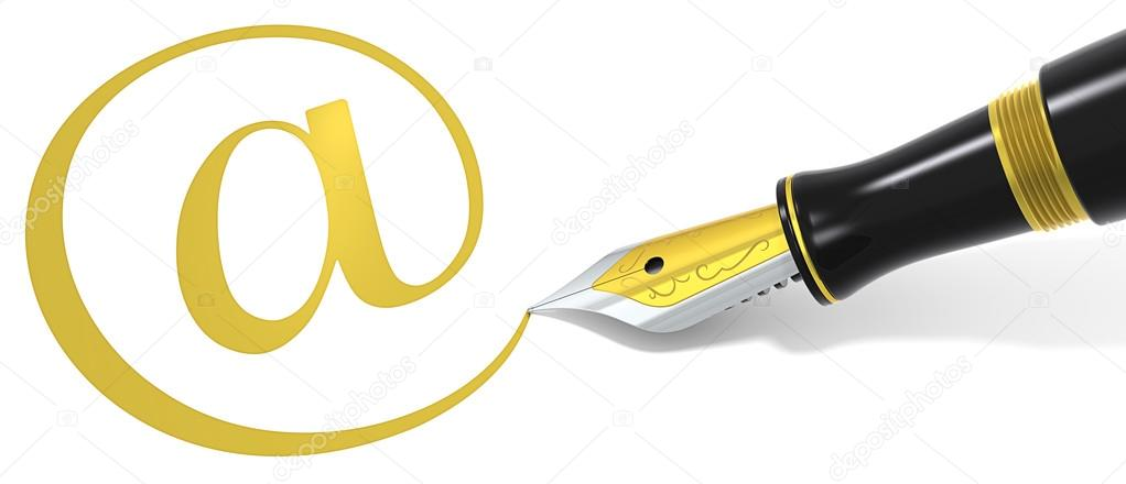Golden At symbol and Black Fountain Pen.  — Stock Photo #14393615