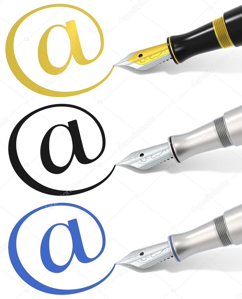 At symbol and Fountain Pen. 3 different material and color versions. — Stock Photo #14393631