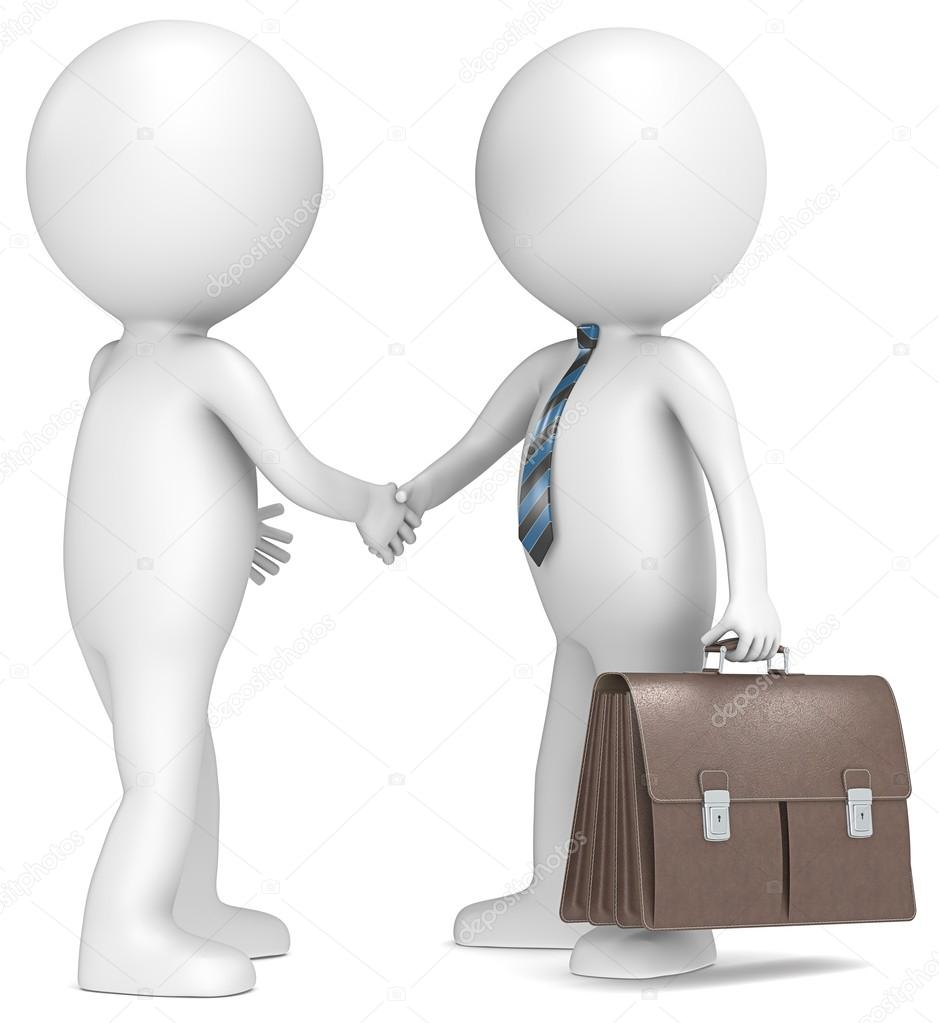 3D little human character shaking hand with Businessman. Brown leather Briefcase. Blue striped tie. series. — Stock Photo #14705085
