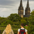 Stock Photo: Young couple observing Prague city, Czech Republic