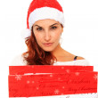 Girl with santa claus hat — Foto de Stock