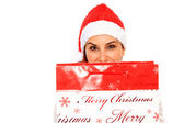 Girl with santa claus hat — Stock Photo