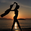 Silhouette of a girl at the beach — Stock Photo #18417111