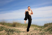Martial arts instructor exercise outdoor — Stock Photo