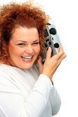 Girl with portable radio — Stock Photo