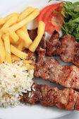 Pork meat skewer — Stock Photo