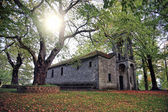 Small church surrounded with trees — Stock Photo