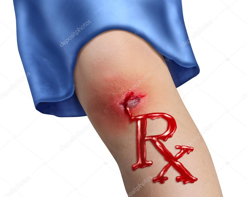Child Health Care and pediatric medicine medical concept with a human child knee as a physical bleeding injury in the shape of RX pharmacy symbol as an icon of  fami — Stock Photo #12011929
