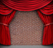 Red Curtains On A Brick Wall — Stock Photo