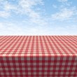 Checkered Tablecloth-table — Stock Photo