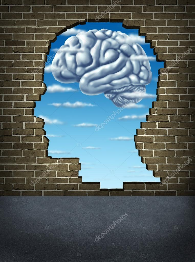 Understanding human intelligence with a broken brick wall in the shape of a head revealing a sky and clouds in the shape of a brain as a health care symbol of mental — Stock Photo #13660471