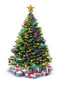 Gedecoreerde kerstboom — Stockfoto
