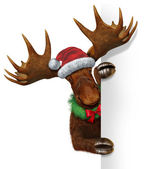 Christmas Moose Blank Sign — Stock Photo