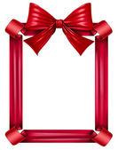 Red Ribbon And Bow Frame — Stock Photo