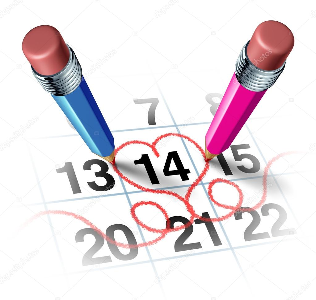 Valentines day with two three dimensional pencils in color blue and pink drawing a red heart shape around a calendar of Febuary the fourteen as a reminder of a romantic love concept for a date or marriage anniversary on white. — Stock Photo #18027695