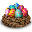 Easter Eggs Nest — Stock Photo