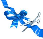 Corte de cinta azul — Foto de Stock