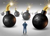 Businessman conquering adversity — Stock Photo