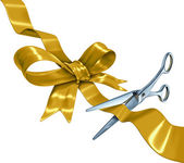Gold Ribbon Cutting — Stock Photo
