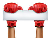 Boxing Gloves Blank Sign — Stock Photo