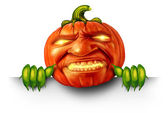 Pumpkin Character Blank Sign — Foto de Stock