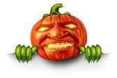 Pumpkin Character Blank Sign — Stock Photo