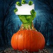 Stock Photo: Zombie Pumpkin Sign