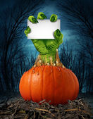 Zombie Pumpkin Sign — Stock Photo