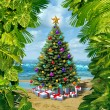 Christmas Tree Beach Celebration — Stock Photo