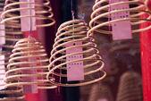 Burning incense coils at Guan Di Temple — Stock Photo
