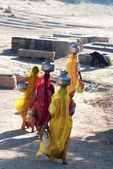 Women carrying water in Rajasthan — Stock Photo