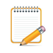 Vector pencil and notepad icon — Vector de stock