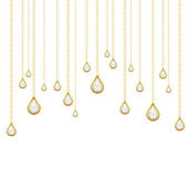 Golden drops with brilliants — Stock Vector