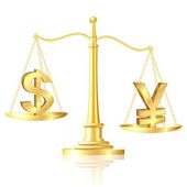 Yen outweighs Dollar on scales. — 图库矢量图片