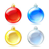 Set of Glossy Christmas balls on white background. — Stock Vector