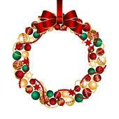 Christmas wreath decoration from Christmas Balls — Stock Vector
