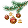 Stock Vector: Red christmas balls on green spruce branch