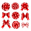 Set of red gift bows. — Stock Vector