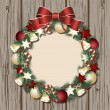 Stock Vector: Christmas wreath on wooden door